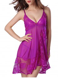 Lace Mesh Sheer Plunge Babydoll - PURPLE