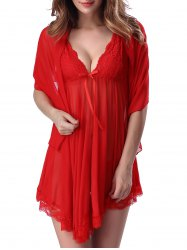 Lace Trim Sheer Deep V Neck Babydoll With Cape