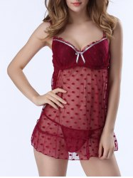 Polka Dot Mesh Sheer Push Up Babydoll - WINE RED