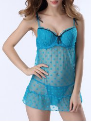 Polka Dot Mesh Sheer Push Up Babydoll - AZURE