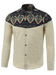 Zigzag Paisley Print Spliced Long Sleeve Shirt -
