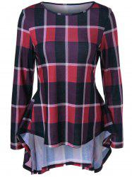 High Low Plaid Peplum Flowy Blouse - CHECKED XL