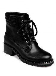 PU Leather Lace-Up Rivets Ankle Boots -