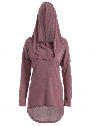 High Low Hooded Pullover Knitwear - BRICK-RED