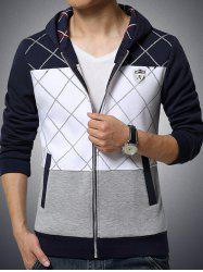 Patch Design Grid Pattern Zip Up Hoodie