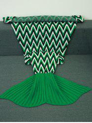 Geometric Jacquard Knitted Mermaid Tail Blanket - COLORMIX