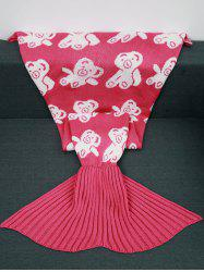 Acrylic Knitted Bear Pattern Mermaid Tail Blanket and Throws