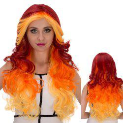Long Side Bang Wavy Intense Cosplay Synthetic Wig - COLORMIX