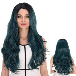 Long Side Parting Wavy Ombre Color Cosplay Synthetic Wig -