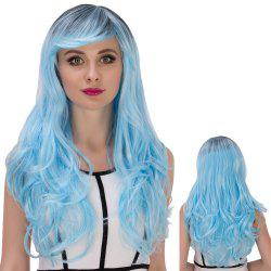 Long Side Bang Wavy Water Blue Gradient Cosplay Synthetic Wig