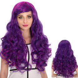 Long Side Bang Shaggy Wavy Purple Ombre Cosplay Synthetic Wig - COLORMIX