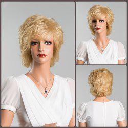 Medium Layered Oblique Bang Straight Human Hair Wig - BLONDE