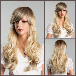 Long Inclined Bang Wavy Colormix Human Hair Wig
