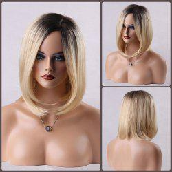 Ombre Side Parting Medium Straight Bob Human Hair Wig