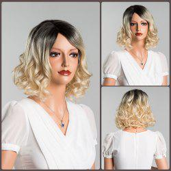 Medium Ombre Wavy Side Parting Human Hair Wig -