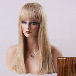 Long Full Bang Natural Straight Human Hair Wig