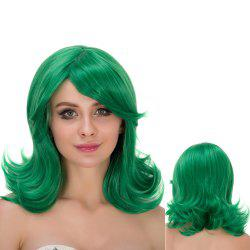 Long Wavy Tail Upwards Oblique Bang Lolita Wig - GREEN