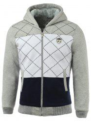Zippered Patch Design Ribbed Sherpa Hoodie -