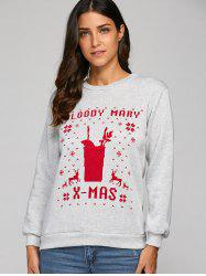 Christmas Letter Print Sweatshirt - GRAY XL
