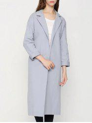 Lapel Buttonless Wrap Coat -