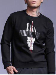 Skull Hand Printed Long Sleeve Crew Neck Sweatshirt