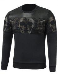Faux Leather Insert Paneled Crew Neck Skull Sweatshirt - BLACK L