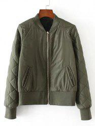 Zip-Up Fitting Quilted Winter Bomber Jacket - ARMY GREEN