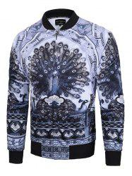 Peacock Printed Raglan Sleeve Zip Up Jacket