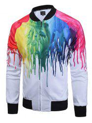 Paint Dripping Print Zip Up Raglan Sleeve Jacket -