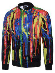 Colorful Paint Dripping Printing Zip Up Raglan Sleeve Jacket - COLORMIX 3XL