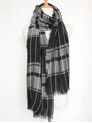 Casual Raw Edge Plaid Pattern Wrap Shawl Scarf - BLACK