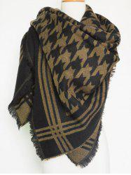 Winter Jacquard Houndstooth Fringed Shawl Blanket Scarf