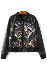 PU Embroidered Zip-Up Jacket -