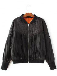 Tassels Zip-Up Quilted Jacket -