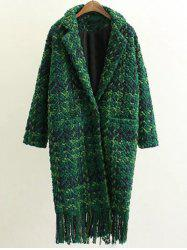 Houndstooth Fringed Woolen Coat - GREEN