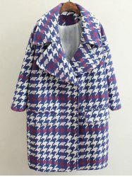 Woolen Houndstooth Coat -