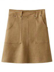 Faux Suede Pockets A-Line Skirt