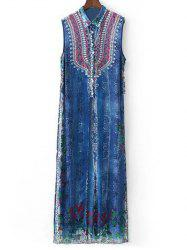Rhinestoned Vintage Printed Dress