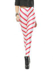 Strip Bodycon Leggings - RED WITH WHITE M