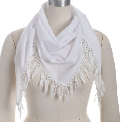 Outdoor Grape Cluster Tassel Chiffon Triangle Scarf - WHITE