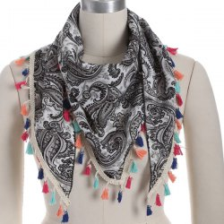 Outdoor Arab Print Colorful Tassel Chiffon Triangle Scarf - GRAY