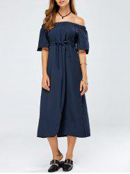 Off The Shoulder Lace-Up Empire Waist Dress