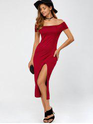 Cut Out High Slit Off The Shoulder Dress
