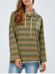 Drop Shoulder Drawstring High Low Striped Hoodie -