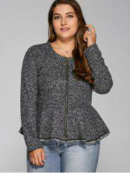 Zip-Up Flounce Ruffles Jacket - GRAY 3XL