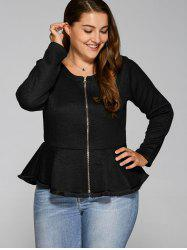 Zip-Up Flounce Ruffles Jacket - BLACK