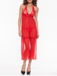 Transparent Sleepwear Bowknot Open Side Halter Lace Nightdress - RED