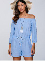 Drawstring Off The Shoulder Romper - LIGHT BLUE