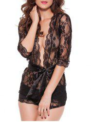 Wave Cut Plunging Lace Teddies Transparent Sleepwear