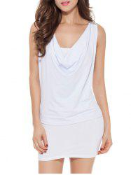 Sleeveless Patch Design Lace-Up Bodycon Dress - WHITE ONE SIZE